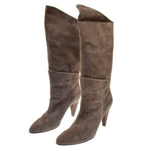 Belle Sigerson Morrison Brown Suede Women's Boots 9.5 Taupe Gunmetal NEW